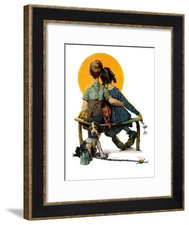 """Little Spooners"" or ""Sunset"", April 24,1926-Norman Rockwell-Framed Giclee Print"