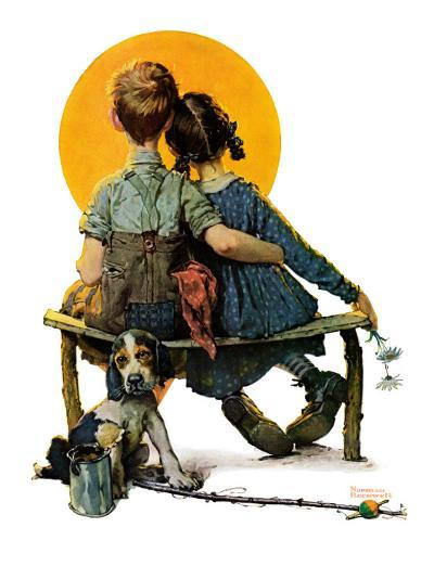 """""""Little Spooners"""" or """"Sunset"""", April 24,1926-Norman Rockwell-Giclee Print"""