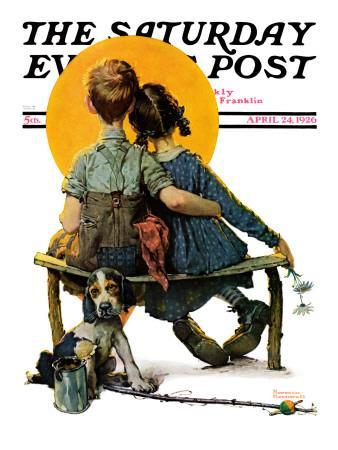 """""""Little Spooners"""" or """"Sunset"""" Saturday Evening Post Cover, April 24,1926-Norman Rockwell-Premium Giclee Print"""