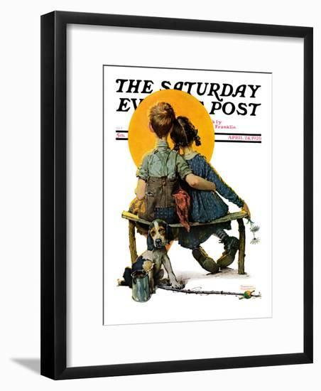 """""""Little Spooners"""" or """"Sunset"""" Saturday Evening Post Cover, April 24,1926-Norman Rockwell-Framed Giclee Print"""