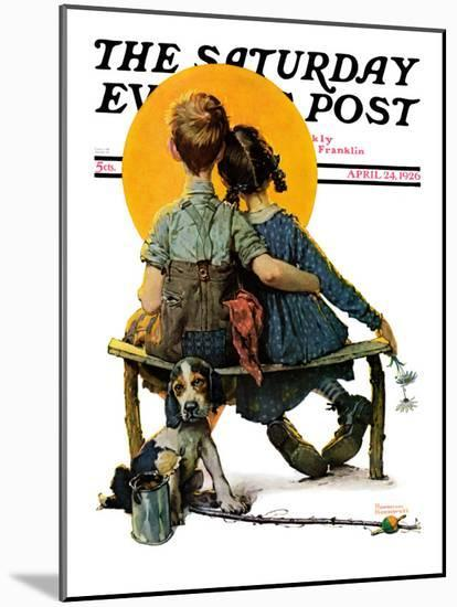 """""""Little Spooners"""" or """"Sunset"""" Saturday Evening Post Cover, April 24,1926-Norman Rockwell-Mounted Giclee Print"""