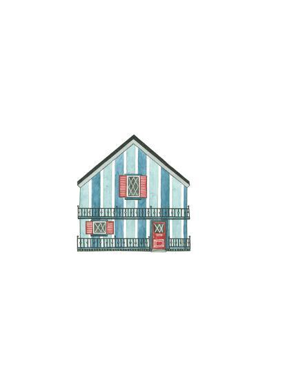 Little Striped Houses Cyan-Natasha Marie-Art Print