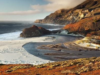 Little Sur River Flowing into the Pacific at Big Sur-Douglas Steakley-Photographic Print