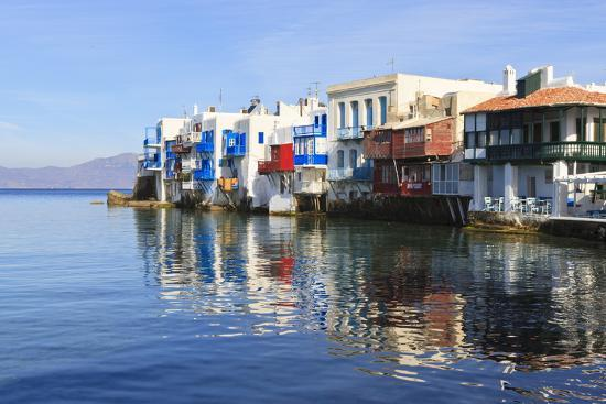 Little Venice Reflections, Mykonos Town (Chora), Mykonos, Cyclades, Greek Islands, Greece, Europe-Eleanor Scriven-Photographic Print