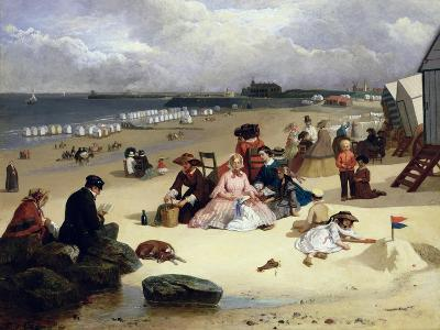 Littlehampton Beach with the Pier, Climping Beyond C.1888 (Oil on Panel)-John W. Eyres-Giclee Print