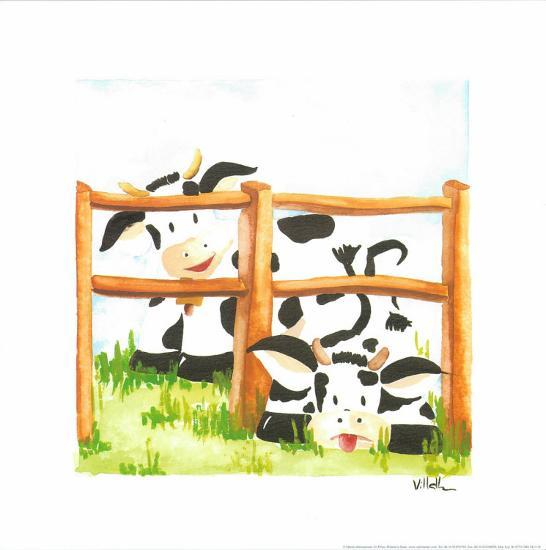 Littles Cows And Fences-Urpina-Art Print