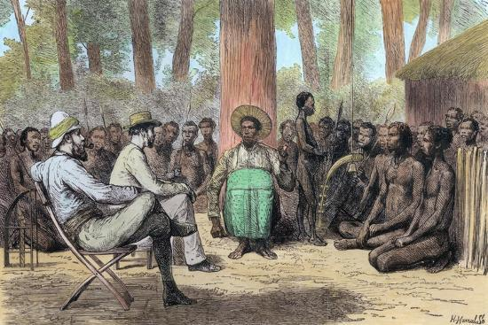 Liutenant Verney Lovett Cameron's reception by Katende, 19th century-Unknown-Giclee Print