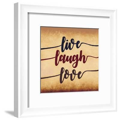 Live Laugh Love-Aged Script-Color Me Happy-Framed Art Print