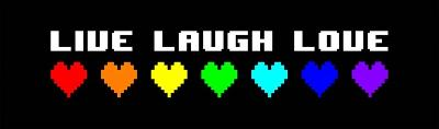 Live Laugh Love - Black Panoramic with Pixel Hearts-Color Me Happy-Art Print