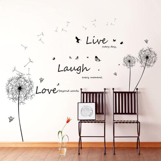Live Laugh Love Dandelions--Wall Decal
