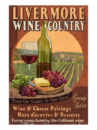 Livermore, California - Wine-Lantern Press-Art Print