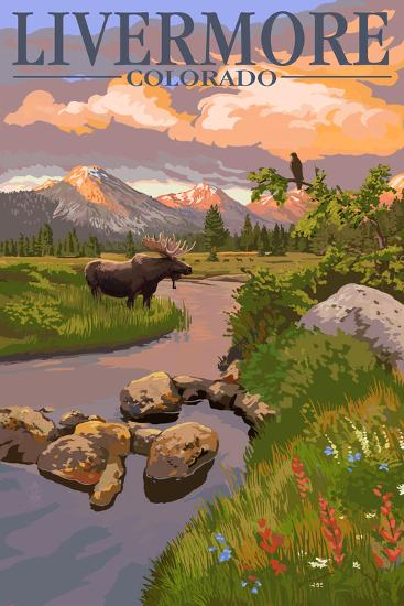 Livermore, Colorado - Moose and Mountain-Lantern Press-Wall Mural