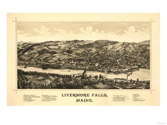 Livermore Falls, Maine - Panoramic Map-Lantern Press-Art Print