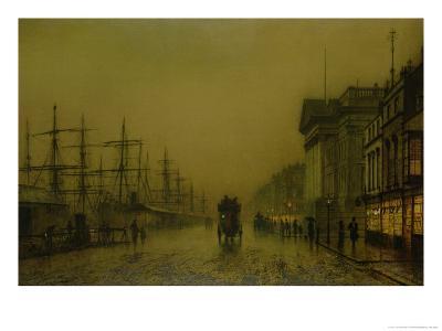 Liverpool Docks Customs House and Salthouse Docks, Liverpool-John Atkinson Grimshaw-Giclee Print