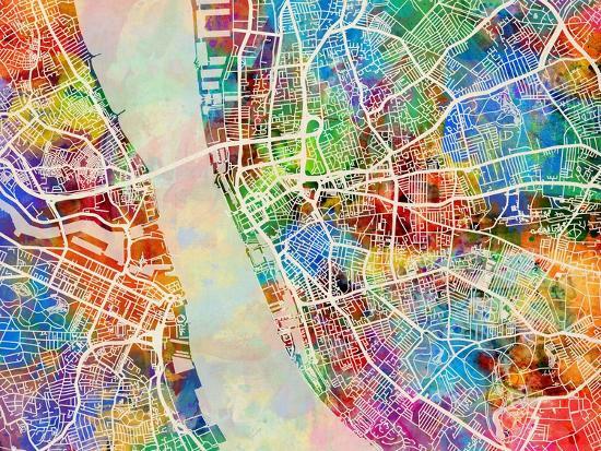 Liverpool England City Street Map-Michael Tompsett-Art Print