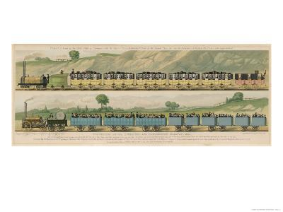 Liverpool-Manchester Railway, Two Passenger Trains with Closed Carriages-Isaac Shaw-Giclee Print