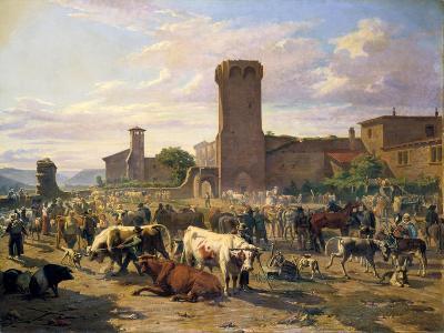Livestock Market in L'Arbresle, France, Mid-Late 19th Century-JB Louis Guy-Giclee Print