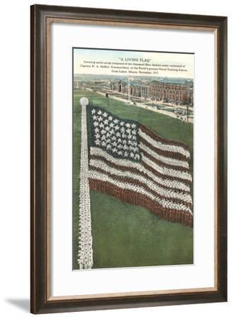 Living Flag at Naval Training Station, Illinois--Framed Art Print
