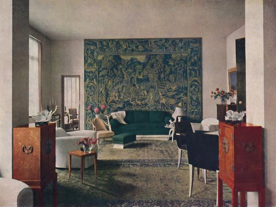 'Living-room designed by Porteneuve & Dominique, the end wall of which is hung with an old tapestry-Unknown-Photographic Print