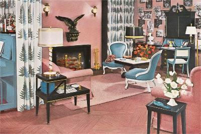 Living Room in Pink--Art Print