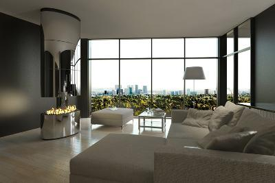 Living Room Interior with Open Fireplace and Floor to Ceiling Windows-PlusONE-Photographic Print