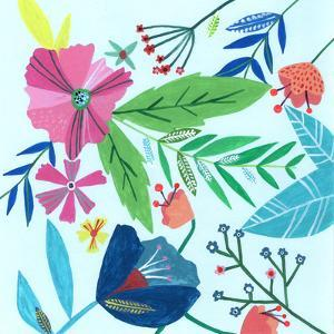 Abstract Flowers & Leaves On Blue by Liz and Kate Pope