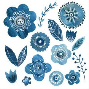 Blue Flowers & Leaves by Liz and Kate Pope