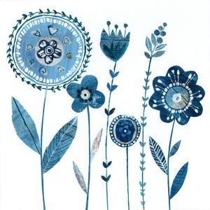Blue Flowers With Stems by Liz and Kate Pope