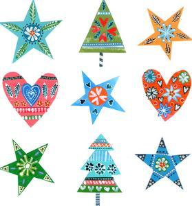 Christmas Trees Stars Hearts by Liz and Kate Pope