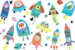 Cute Space Ships With Animals by Liz and Kate Pope