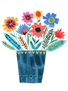 Dark Blue Vase Of Flowers by Liz and Kate Pope