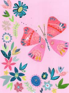 Pink Butterfly With Flowers by Liz and Kate Pope