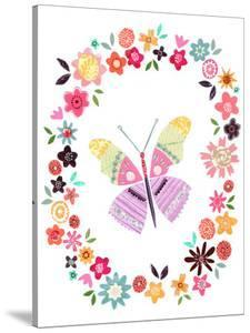 Pretty Pink Butterfly In Flower Frame by Liz and Kate Pope