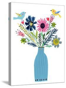Tall Blue Vase Flowers & Birds by Liz and Kate Pope