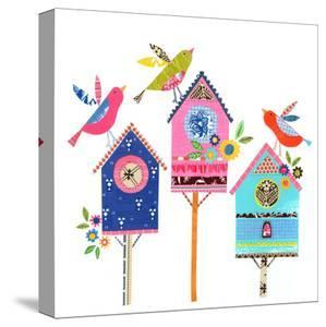 Three Bird Houses & Birds by Liz and Kate Pope