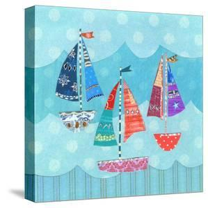 Three Sailing Boats On Blue by Liz and Kate Pope