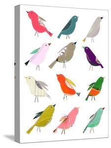 Twelve Collaged Birds by Liz and Kate Pope