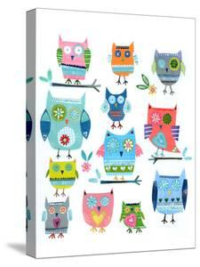 Twelve Collaged Owls by Liz and Kate Pope
