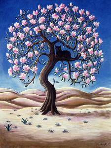 Black Cat in a Magnolia Tree, 1988 by Liz Wright