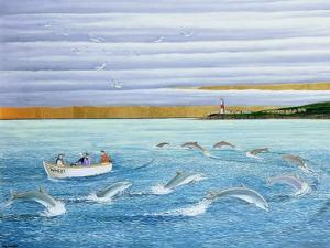 Dolphins Playing, 2004 by Liz Wright
