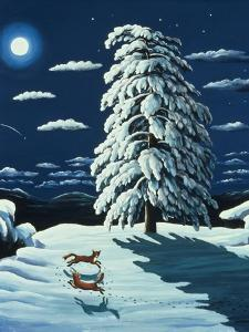 Foxes in Moonlight, 1989 by Liz Wright