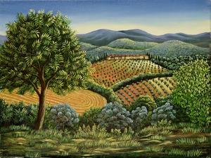 Tuscan Hilltop Village, 1990 by Liz Wright