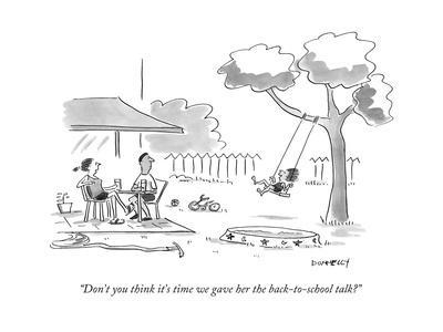 """Don't you think it's time we gave her the back-to-school talk?"" - New Yorker Cartoon"