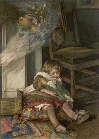 Small Girl Sleeping by the Fire with Her Dolly Dreams of the Joys of Christmas Day by Lizzie