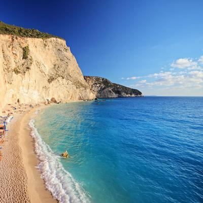 A View of a Beach at Lefkada Island, Greece, Shot with a Tilt and Shift Lens