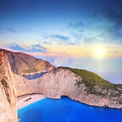 Panoramic View of Zakynthos Island, Greece with a Shipwreck on the Sandy Beach, at Sunset