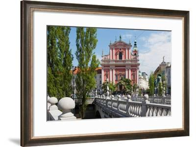 Ljubljana, Slovenia. Presernov trg (or square) and the Baroque Franciscan Church of the Annuncia...--Framed Photographic Print