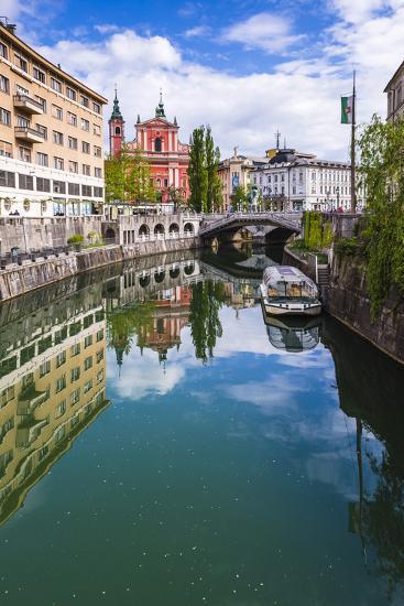 Ljubljana Triple Bridge and Franciscan Church of the Annunciation Reflected in Ljubljanica River-Matthew Williams-Ellis-Photographic Print