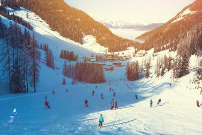 Skiing Area in West Alps in the Morning Light. Beautiful Winter Landscape - Nature and Sport Toning