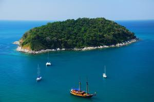 Aerial View of Boat near Phuket Island, Southern of Thailand by lkunl